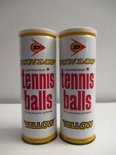 Vintage Nos Dunlop Championship Yellow 3 Tennis Balls In Can Sealed X2
