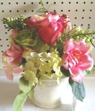 """12""""  Floral Spring Table Top  Faux Silk Lime Green Yellow White Pink"""