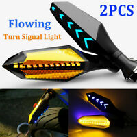 2X Motorcycle LED Turn Signal Lamp Sequential Flowing Indicator Lights Amber