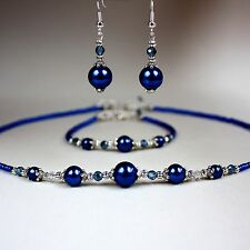 Midnight blue pearl crystal collar necklace bracelet earrings silver jewelry set