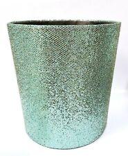 NEW METALLIC TEAL GREEN GLITTERY FABRIC,BLACK INSIDE TRASH CAN,WASTE BASKET,BIN