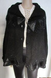 NWT BLACK SEQUIN PONCHO one size