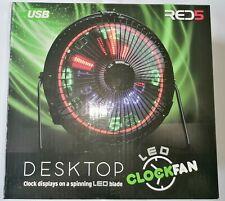 More details for desktop usb fan led clock - great gift