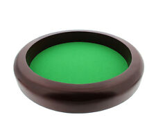 "Get Out!â""¢ Professional Round Wooden Dice Game Rolling Tray w/ Plush Felt Lining"