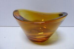 VINTAGE MID CENTURY AMBER GLASS BOWL