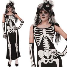 Ladies Long Day of the Dead Skeleton Bone Print Fancy Dress Costume Halloween