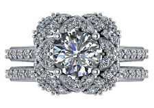2.57 CT H SI1 ROUND DIAMOND ENGAGEMENT WEDDING RING SET 18K WHITE GOLD SIZE 6