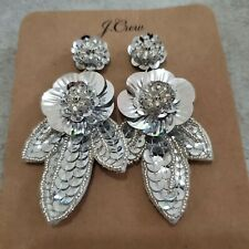NWT J.Crew Earrings Bead Sequin Flower Silver Leather Dangle Drop Statement New