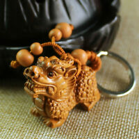 Carving Chinese Wealth Pixiu Pi Yao Statue Sculpture Pendant Key Wood 3D Chain