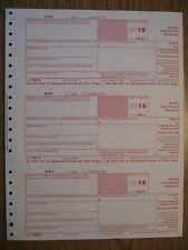 2016 IRS Tax Form 1098-E single sheet set for 3 borrowers, carbonless 3-part