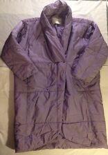 Designer Ermanno Scervino Italian Made Purple Puffy Full Length Jacket Size 42