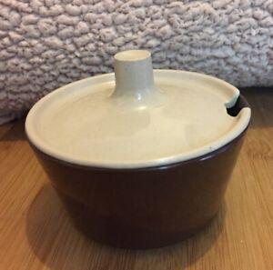 Vintage Melaware Melmex Retro Brown Cream Sugar Bowl Lid 1960s 70s Camping VGC