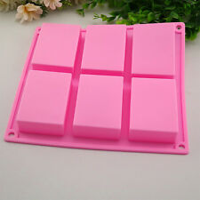 6 Square Silicone Soap Mold -Cake Muffin Chocolate Baking Pan Mold Ice Cube Tray