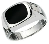 Elements 925 Polished Sterling Silver & Genuine Black Onyx Men's Signet Ring [S]