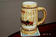 "1981 Budweiser ""Snowy Woodlands"" Holiday Series Stein, Clydesdales, Mint"