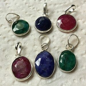 JOB LOT 6 x GENUINE RUBY, SAPPHIRE AND EMERALD PENDANTS or CHARMS FROM INDIA