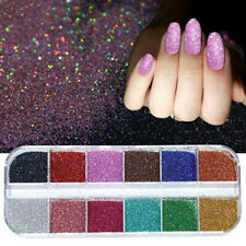 12 grid box glitter nails powder UV gel effect Shimmer Flake dust pigment