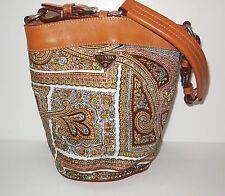 Prada Semitracolla Paisley Nylon & Leather Small Bucket Handle Bag