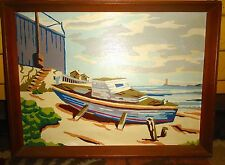 Vintage Framed Paint By Number PBN Painting Boat on Shore