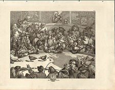 1818 HOGARTH GEORGIAN COPPER ENGRAVING ~ PIT TICKET ~ THE COCKPIT