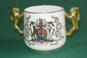 Paragon Queen Elizabeth II 1953 Coronation Deluxe Large Loving Cup Lion Handles
