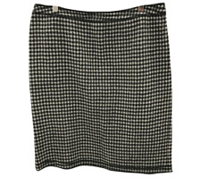 D&G DOLCE&GABBANA Skirt UK 14 IT 46 Black White Gingham Check Wool Smart 260701