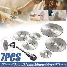 7Pcs HSS Circular Saw Blades Wood Cutting Discs Mandrel For Rotary Drill 22-50mm