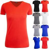 Womens Ladies Plain V Neck Short Sleeve Casual Basic Oversized Tee T-Shirt Top