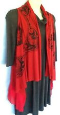 Ladies Longline Knitted Vest Size 12 Red Black BNWT Gypsy Detail