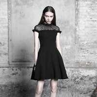 e57c0d48b7639 PUNK RAVE Gothic Kleid Kurz Schwarz Black Lotus Dress m. Chiffon Dezent  Formell