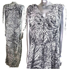 Monsoon Floaty Maxi Dress Black & White Tulip Hem Wrap XL 8 10 12 14 18