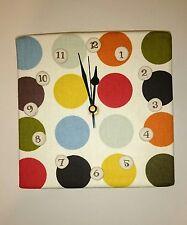 Handmade  Fabric Square Wall Hanging Clock Set Craft Original White Spotted Dot