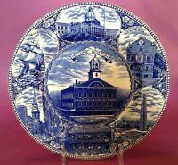 Adams Jonroth Blue Transferware - The Boston Plate - Staffordshire Ware England