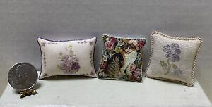 Beautiful Artisan Throw Pillows Floral & Kitty Cat Dollhouse Miniature 1:12
