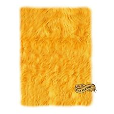 FUR ACCENTS Sunflower Yellow Faux Fur Shag Area Rug 2' x 4' Rectangle