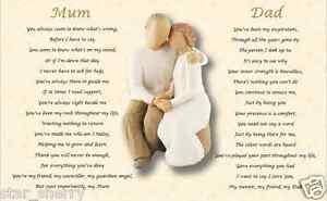 MUM & DAD gift -  (Parents Gift) A4 laminated poem