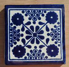 """10~MEXICAN TALAVERA POTTERY 4"""" tile Hand Painted clay kiln fired Blue White"""