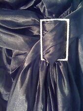 NEW Sz10 Black Satin Maxi Empire V Wrap Dress - diamante buckle & sash rrp £99