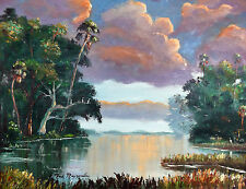 COLORFUL Florida oil Painting Palm Trees, OAK Swamp ,Original GENUINE MAZZ ART