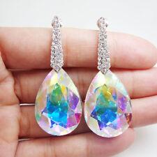 Elegant Austrian Crystal TearDrop Bride Wedding Dangle Earrings Clear AB