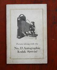 KODAK NO. 3A AUTOGRAPHIC SPECIAL INSTRUCTION BOOK + LEAFLET, 1921/cks/207939