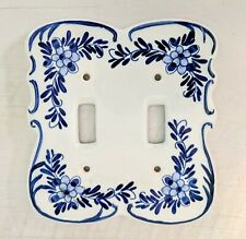 Vintage Delft Blue Porcelain Double 2  Toggle Switch  Light Switch Plate Floral
