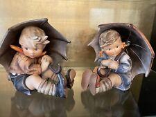 "Rare Vintage Hummel Goebel ""Umbrella Boy and Girl"" Pair 152/A &152/B 8"" Tall"