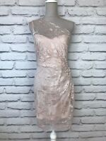 LIPSY Womens Pink Blush Shimmer One Shoulder Lace Occasion Mini Dress UK 12 US 8