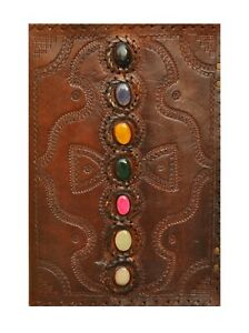 Embossed Handmade Paper Leather Journal Seven Chakra Medieval Stone Note Book