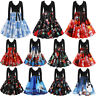 Womens Long Sleeve Christmas Print Vintage V-Neck Evening Party Casual Dress US