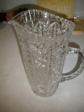 HEAVY APB NICELY CUT GLASS CRYSTAL WATER PITCHER-STAR PATTERN, EXC. CONDITION