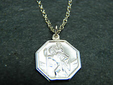 9ct White Gold Small Octagonal St Christopher