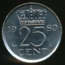 Netherlands, 1980 25 Cents, Juliana - Choice Uncirculated