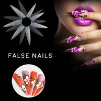 New Nail Art False Tips 500pc Stiletto Long Sharp 4.9cm False Acrylic Nail Tips